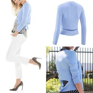 NWT CAbi Cut Out Cardigan Sweater Light Blue M5140